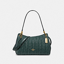 SMALL MIA SHOULDER BAG WITH QUILTING - F76721 - IM/EVERGREEN