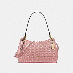 SMALL MIA SHOULDER BAG WITH QUILTING - F76721 - IM/PINK PETAL