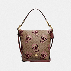 ABBY DUFFLE IN SIGNATURE CANVAS WITH DESERT TULIP PRINT FLOCKING - F76727 - IM/KHAKI PINK MULTI