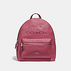 COACH F76729 - JES BACKPACK WITH HORSE AND CARRIAGE ROUGE/SILVER