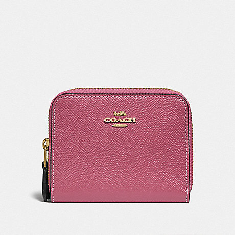 COACH F76752 SMALL DOUBLE ZIP AROUND WALLET ROUGE MULTI/GOLD