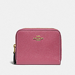COACH F76752 - SMALL DOUBLE ZIP AROUND WALLET ROUGE MULTI/GOLD
