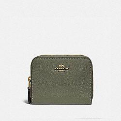 COACH F76752 Small Double Zip Around Wallet MILITARY GREEN MUTLI/GOLD