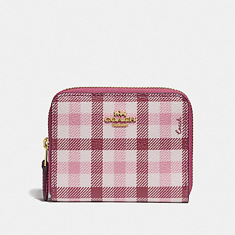 COACH F76753 SMALL DOUBLE ZIP AROUND WALLET IN SIGNATURE CANVAS AND GINGHAM PRINT ROUGE LIGHT KHAKI MULTI/GOLD