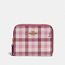 COACH F76753 - SMALL DOUBLE ZIP AROUND WALLET IN SIGNATURE CANVAS AND GINGHAM PRINT ROUGE LIGHT KHAKI MULTI/GOLD