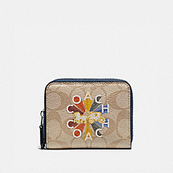 COACH F76754 - SMALL DOUBLE ZIP AROUND WALLET IN SIGNATURE CANVAS WITH COACH RADIAL RAINBOW LIGHT KHAKI/DENIM MULTI/SILVER
