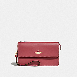 COACH F76757 Foldover Wristlet With Signature Canvas Detail LIGHT KHAKI/ROUGE/GOLD