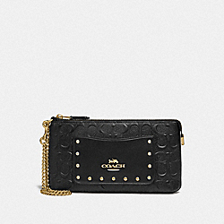 LARGE WRISTLET IN SIGNATURE LEATHER - F76763 - BLACK/GOLD