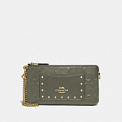 LARGE WRISTLET IN SIGNATURE LEATHER - F76763 - MILITARY GREEN/GOLD