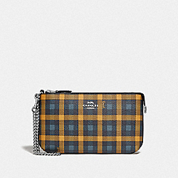 COACH F76765 Large Wristlet With Gingham Print NAVY YELLOW MULTI/SILVER