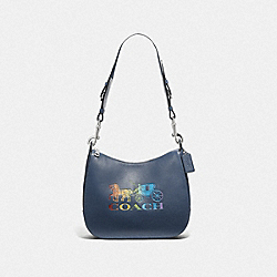 COACH F76766 - JES HOBO WITH RAINBOW HORSE AND CARRIAGE DENIM/MULTI/SILVER