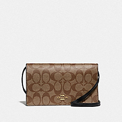 HAYDEN FOLDOVER CROSSBODY CLUTCH IN SIGNATURE CANVAS - F76769 - KHAKI/BLACK/IMITATION GOLD