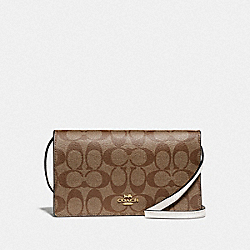 HAYDEN FOLDOVER CROSSBODY CLUTCH IN SIGNATURE CANVAS - F76769 - IM/KHAKI/CHALK
