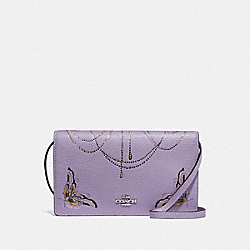 HAYDEN FOLDOVER CROSSBODY CLUTCH WITH CHELSEA ANIMATION - F76770 - LILAC MULTI/SILVER