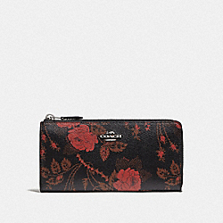 COACH F76774 L-zip Wallet With Thorn Roses Print BLACK RED MULTI/SILVER