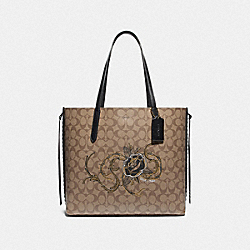 TOTE IN SIGNATURE CANVAS WITH CHELSEA ANIMATION - F76778 - KHAKI/BLACK MULTI/IMITATION GOLD