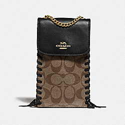 COACH F76781 North/south Phone Crossbody In Signature Canvas With Whipstitch KHAKI/BLACK/IMITATION GOLD
