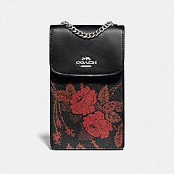 COACH F76782 North/south Phone Crossbody With Thorn Roses Print BLACK RED MULTI/SILVER
