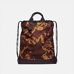 TERRAIN DRAWSTRING BACKPACK WITH CAMO PRINT - F76784 - RUST/BLACK ANTIQUE NICKEL