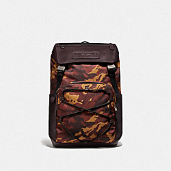COACH F76786 Terrain Backpack With Camo Print RUST/BLACK ANTIQUE NICKEL