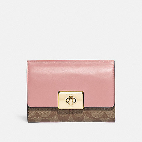 COACH F76789 CASSIDY TURNLOCK MEDIUM WALLET IN SIGNATURE CANVAS IM/KHAKI PINK PETAL
