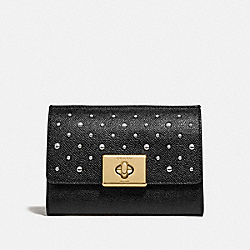 COACH F76790IMBLK Cassidy Turnlock Medium Wallet With Rivets IM/BLACK