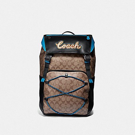 COACH F76793 TERRAIN BACKPACK IN SIGNATURE CANVAS WITH COACH SCRIPT TAN/BLACK ANTIQUE NICKEL