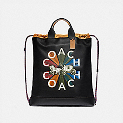 TERRAIN DRAWSTRING BACKPACK WITH COACH RADIAL RAINBOW - F76794 - BLACK MULTI/BLACK ANTIQUE NICKEL