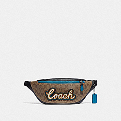 COACH F76795 Warren Belt Bag In Signature Canvas With Coach Script TAN/BLACK ANTIQUE NICKEL
