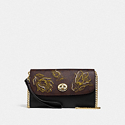 CHAIN CROSSBODY IN SIGNATURE CANVAS WITH TULIP PRINT EMBROIDERY - F76821 - IM/BROWN BLACK MULTI
