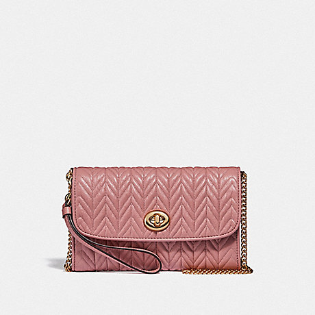 COACH CHAIN CROSSBODY WITH QUILTING - IM/PINK PETAL - F76823