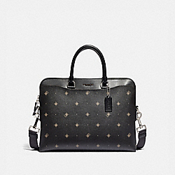 COACH F76827 Beckett Portfolio Brief With Geo Foulard Print BLACK MULTI/NICKEL