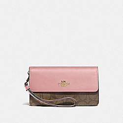 FOLDOVER WRISTLET IN BLOCKED SIGNATURE CANVAS - F76829 - IM/KHAKI PINK PETAL