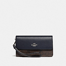 FOLDOVER WRISTLET IN BLOCKED SIGNATURE CANVAS - F76829 - SV/BROWN MIDNIGHT