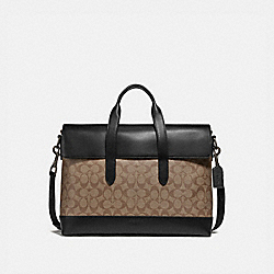 COACH F76835 - HAMILTON PORTFOLIO BRIEF IN SIGNATURE CANVAS TAN/BLACK ANTIQUE NICKEL