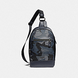 GRAHAM PACK IN SIGNATURE CANVAS WITH CAMO PRINT - F76843 - BLUE MULTI/BLACK ANTIQUE NICKEL