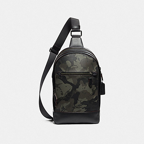 COACH F76846 GRAHAM PACK WITH CAMO PRINT GREEN/BLACK ANTIQUE NICKEL