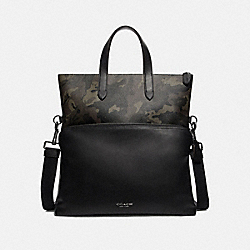 GRAHAM TOTE WITH CAMO PRINT - F76847 - GREEN/BLACK ANTIQUE NICKEL