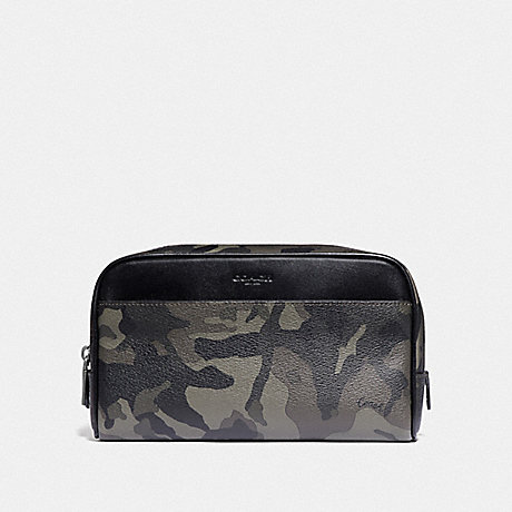 COACH F76854 OVERNIGHT TRAVEL KIT WITH CAMO PRINT GREEN/BLACK ANTIQUE NICKEL