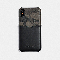 COACH F76855 Iphone X/xs Case With Camo Print GREEN/BLACK ANTIQUE NICKEL