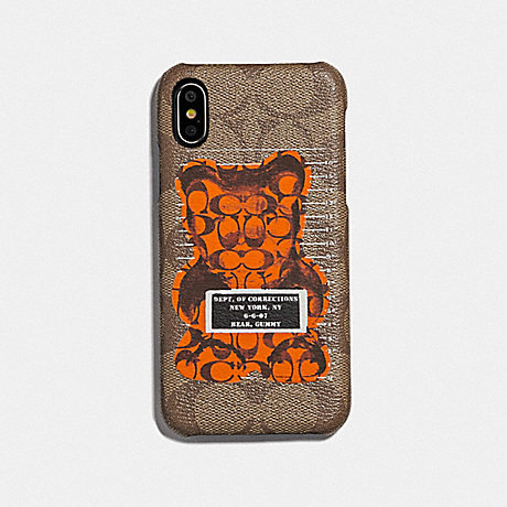 COACH F76856 IPHONE X/XS CASE IN SIGNATURE CANVAS WITH VANDAL GUMMY TAN/BLACK ANTIQUE NICKEL