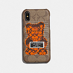 COACH F76856 - IPHONE X/XS CASE IN SIGNATURE CANVAS WITH VANDAL GUMMY TAN/BLACK ANTIQUE NICKEL