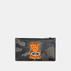 COACH F76859 - ZIP CARD CASE WITH CAMO PRINT AND VANDAL GUMMY GREEN/BLACK ANTIQUE NICKEL