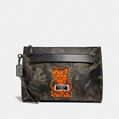 COACH F76860 CARRYALL POUCH WITH CAMO PRINT AND VANDAL GUMMY GREEN/BLACK ANTIQUE NICKEL