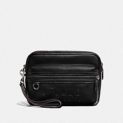 TERRAIN POUCH WITH COACH SCRIPT - F76861 - BLACK/BLACK ANTIQUE NICKEL