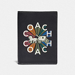 COACH F76864 - PASSPORT CASE WITH COACH RADIAL RAINBOW BLACK/BLACK ANTIQUE NICKEL