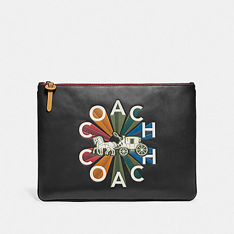 COACH F76865 LARGE POUCH WITH COACH RADIAL RAINBOW BLACK/BLACK ANTIQUE NICKEL