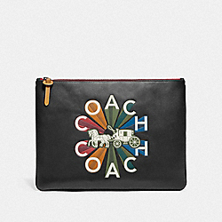LARGE POUCH WITH COACH RADIAL RAINBOW - F76865 - BLACK/BLACK ANTIQUE NICKEL