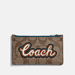 COACH F76866 - ZIP CARD CASE IN SIGNATURE CANVAS WITH COACH SCRIPT TAN/BLACK ANTIQUE NICKEL