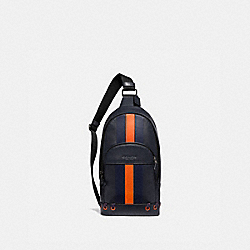 COACH F76867 Houston Pack With Baseball Stitch MIDNIGHT NAVY/ CADET/ DARK ORANGE/BLACK ANTIQUE NICKEL